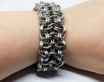 Kinged Vipera Berus 4-1 Stainless Steel Chunky Chainmaille Bracelet Unisex