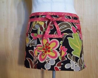 Apron, Cafe Apron, Half Apron, pink long ties, Lined Apron, Flowered half apron