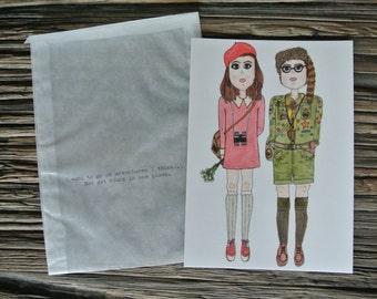 Moonrise Kingdom Sam and Suzy Illustrated Postcard