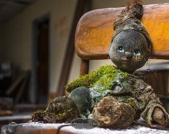Forgotten Friend -Urban Exploration- creepy doll, moss, abandoned school, lost, alone, urbex, friend, child's toy
