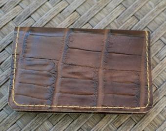 Mens wallet,leather wallet,alligator wallet,alligator leather,brown wallet,brown alligator wallet,white alligator,cards holder,ooak