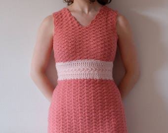 Crochet pdf pattern pink sleeveless summer dress in shell stitch with empire waist band and fitted shape for women