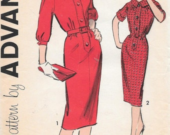 Vintage 1950s Advance Sewing Pattern 9161 - Misses' Dress size 12