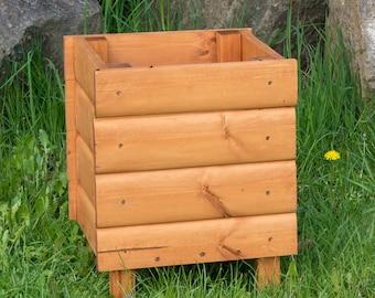 Solid Wood Loglap Planter Medium