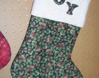 Christmas Stocking, Lined with Hanger.  Joy Applique on Cuff.