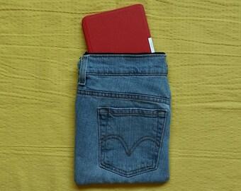 Kindle sleeve denim, tablet bag denim, electronics bag with pockets, reader bag blue, tablet case holder, electronics holder, zipper bag  E7