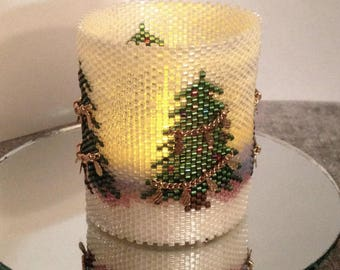 Candle Cover Pattern - Quiet Christmas - Peyote Pattern - Tubular Peyote Beading Pattern