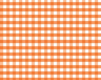 "Orange and White Medium 1/4"" Quarter Inch PRINTED Gingham - Riley Blake Designs - Checker - Quilting Cotton Fabric - choose your cut"