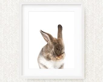 Nursery Decor Rabbit Print, Woodland Nursery Art, Digital Print, Bunny Wall Art, Bunny Print, Instant Download Printable Art, Woodland Art
