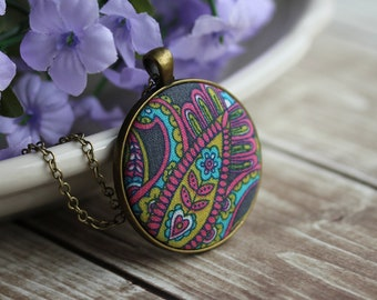 Paisley Necklace, Boho Jewelry For Women, Colorful Hippie Fabric Pendant, Gray, Pink, Yellow, Blue