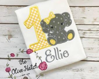 Elephant Birthday Shirt- Safari - Zoo - Applique Embroidery