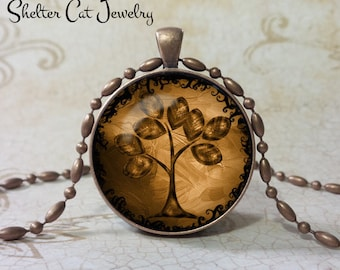 "Tree of Life Pendant - Brown and Tan - 1-1/4"" Round Necklace or Key Ring - Handmade Wearable Photo Art Jewelry"