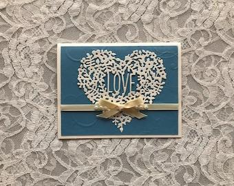 Greeting card handmade: Love card, fancy heart, blue and white, die cut heart, wedding card