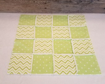 Green and White Flannel Rag Style Handmade Doll Quilt with Fleece Back, Doll Blanket, Rag Quilt, Polka Dot, Chevron, 18 inch doll quilt