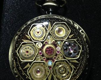 Moon Glory Gears Mechanical Pocket Watch, Star Honeycomb, Bronze