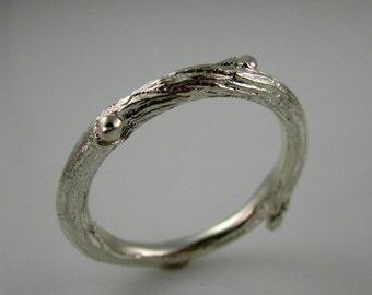Willow twig ring, 14k white gold ring, unplated, Made to order, your size