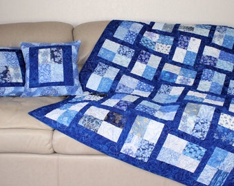 Snowflakes Lap Quilt and Pillows, Blue and White Winter Sofa Throw Quilt, Decorative Snowflake Pillows, Quiltsy Handmade Christmas Blanket