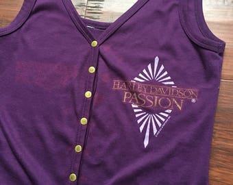 1988 HD Harley Davidson Purple Passion Snap-Front Tank Top