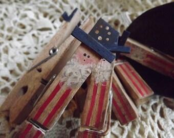 Patriotic Primitive Uncle Sam Clothespin Americana Decor