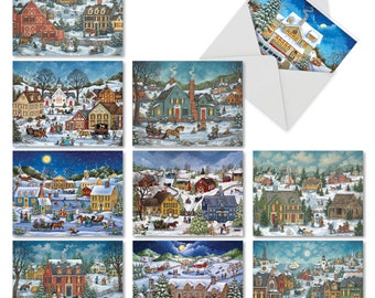 M5080XSG-B1x10 Old Town Christmas: 10 Assorted Christmas Cards Featuring Vintage Themed Images of A Sleepy Christmas Town, with Envelopes.