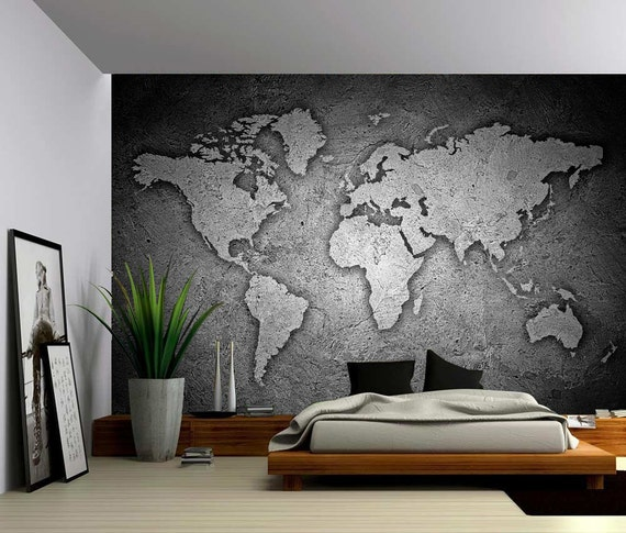 Black and white stone texture world map large wall mural gumiabroncs Images