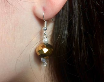 Gold Disco Ball Bead and Faux Pearl Dangle Earrings