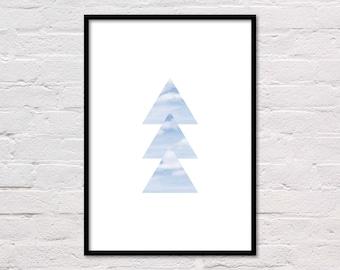 Sky Geometric Print, Triangle Clouds, Clouds Print, Triangle Art, Sky Photo, Modern Wall Art, Blue & White Art, Cloud Print, Large Poster
