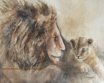 fathers day gift for dad lion print of lion painting lion art PRINT art lion wall hanging lion wall art lion cub for him Watercolor dad