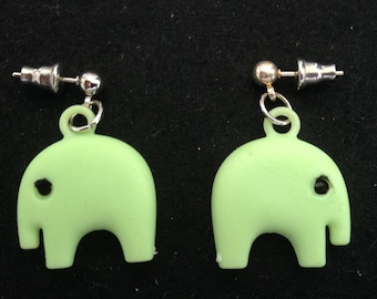 Green Elephant Post/Drop Earrings