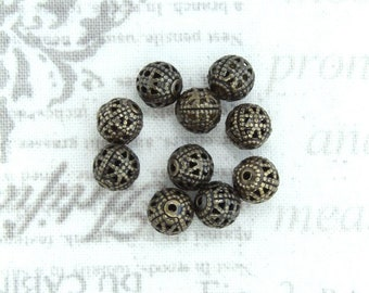 6mm Filigree Beads Antiqued Brass Metal Beads Jewelry Making Supplies Round Filigree Beads