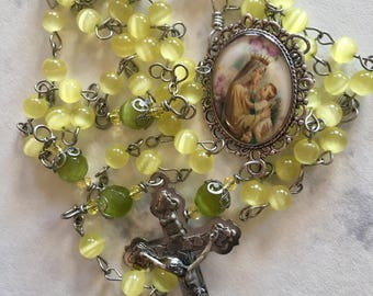 Beautiful Yellow Blessed Mother Rosary