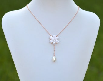 White Gardenia and Pearl Y Drop Necklace, White Flower necklace, Gardenia Necklace, White Bridal Necklace