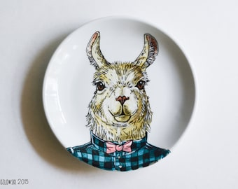 Hipster Llama - Single Hand Painted Plate
