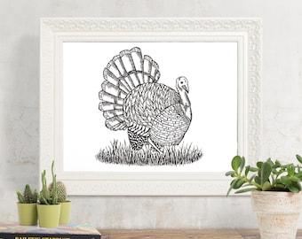 "Turkey Print - 8.5"" x 11"" Thanksgiving Fine Art Print"