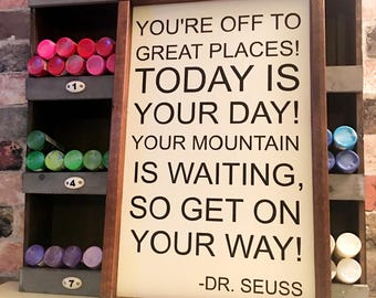 You're off to great places - Dr. Seuss painted wood sign
