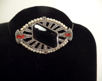 Art Deco Brooch with Onyx, Carnelian, Marcasite-Made in France