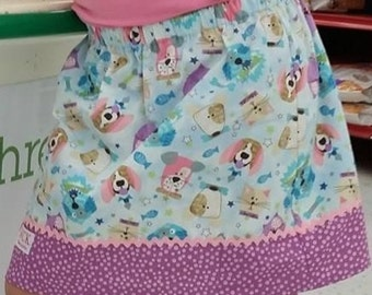 Cats and Dogs  Skirt ( 18 mos, 24 mos, 2T, 3T, 4T, 5, 6, 7)