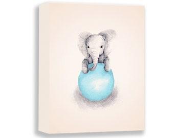 Watercolor Paintng - Canvas Print - Baby Boy Gift - Nursery Art Boy - Elephant Nursery - Blue and Gray - Baby Elephant Art - E324N