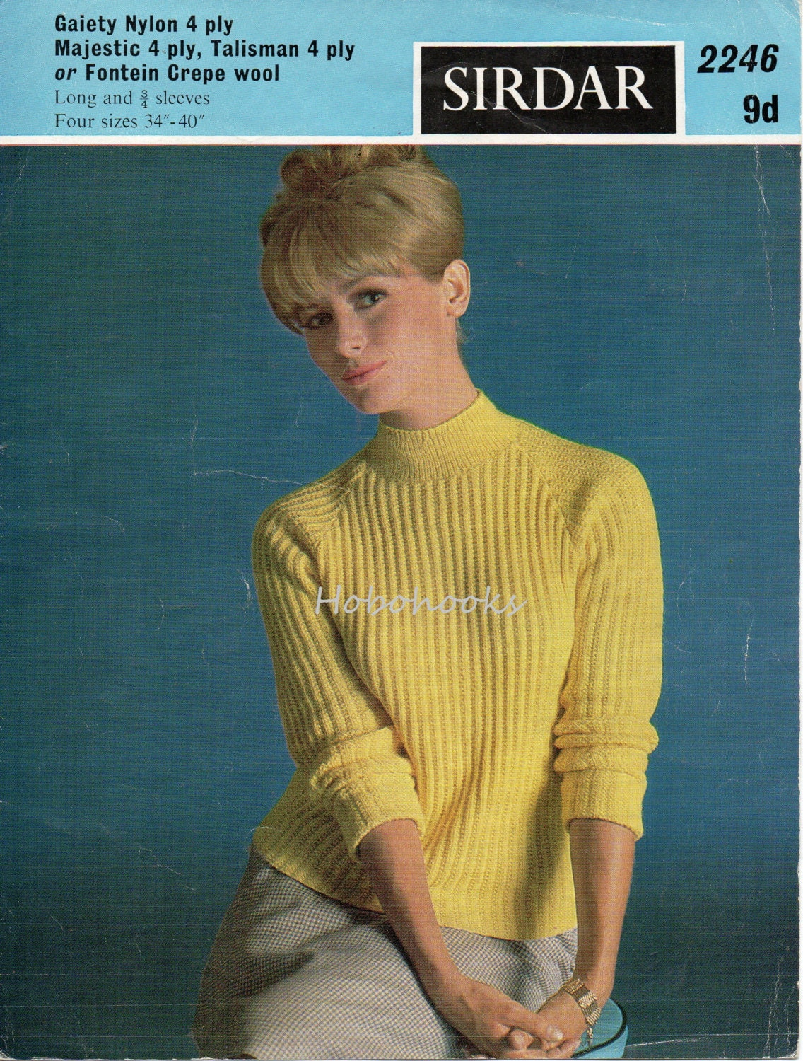 womens ribbed sweater knitting pattern turtle neck vintage 1960s 34 ...