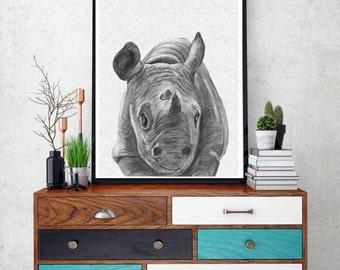 Rhino Print, African Safari Decor, Nursery Wall Art, Printable, Modern Minimalist,  Large Poster, Instant Digital Download, Black and White