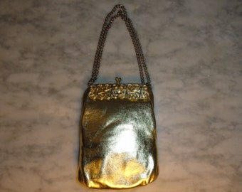 Vintage Gold Metallic Kisslock Scrollwork Handbag Purse Formal Bag Clutch Bridal Purse Prom