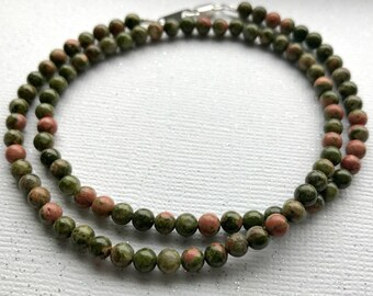 Unakite Stone Necklace, 4mm Unakite Stone Short Necklace, Shades of Green and Pink Stone Necklace, Moss, Olive, Peach, Mauve Stones