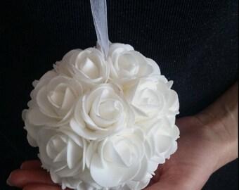 """13""""/33cm Single white foam flower kissing ball/wedding pew flower ball - wedding rose decor - wedding table centerpiece - white kissing ball"""