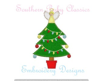 Christmas  Tree Angel Topper Blanket Stitch Applique Trees Row Pine Design File for Embroidery Machine Instant Download