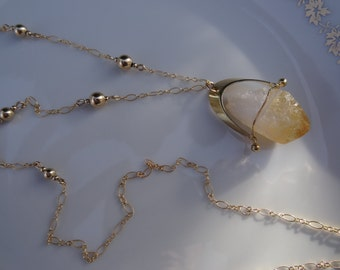 Gold chain, 585 gold filled chain long, m. natural raw citrine