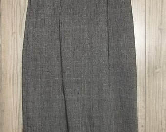 "Vintage Black Donegal Tweed Pencil Skirt 13 14 Herringbone Twill Stringbean Black White Mini Fishtail Back 29"" High Waist"