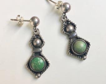 vintage green stone and sterling post earrings