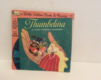 1976 Little Godlen Book and Record Thumbelina With Record