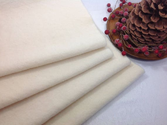 Fat 1/4 yd, Natural Flannel Wool for Rug Hooking and Applique Wool, J657, Creamy natural, off white, winter white,