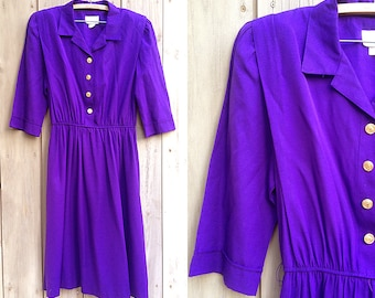 Vintage dress | 1980s 90s purple shirt dress with gold buttons